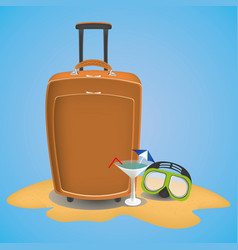 travel suitcase on the beach with waterglasses vector image vector image