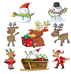 A set of christmas designs vector image