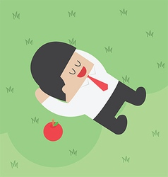 Businessman relaxing under the tree with apple vector image