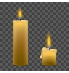 Candles with Fire Set on Transparent Background vector image vector image