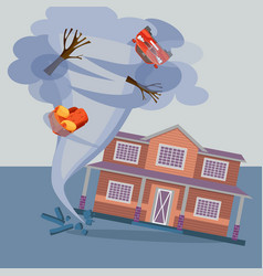 tornado twisted cottage house trees car and vector image
