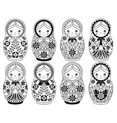 Black and White Matryoshka Set vector image