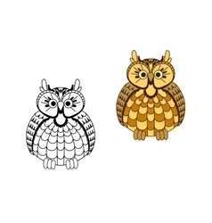 Cartoon old wise eagle owl vector image vector image