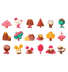 fantasy nature landscape elements sweet candy vector image