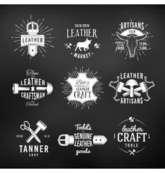Set of leather craft logo designs retro genuine vector image vector image