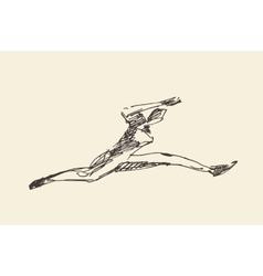 Sketch runner running man vector image