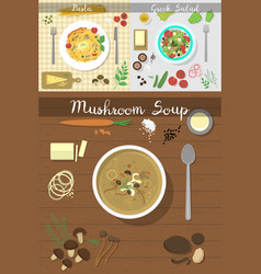 soup plate dishes on table top view vector image vector image