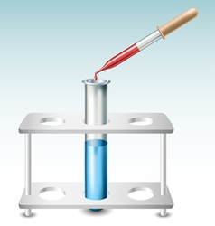 Test tube with holder and pipette vector image vector image