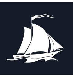 Yacht isolated on black vector