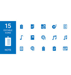15 note icons vector image