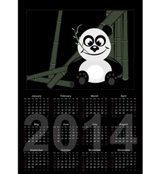 2014 Calendar with panda vector image