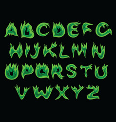 acid flame alphabet vector image