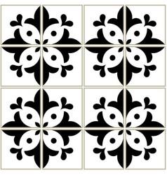 Azulejos tiles pattern - portuguese floral design vector