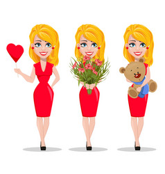 beautiful woman in red dress set vector image
