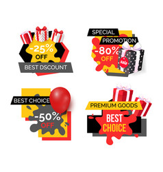 best discount reduction half price off banners vector image