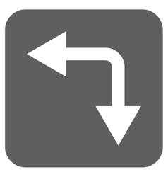 Bifurcation Arrow Left Down Flat Squared vector