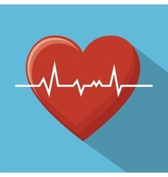 Big monitoring heart sport design blue background vector