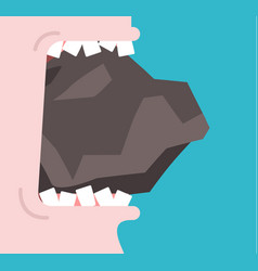 bite stone gnaw granite broken teeth open mouth vector image