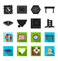 Board game blackflet icons in set collection for vector