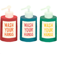 Bottles liquid soap icons wash your vector