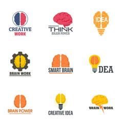 brain concept logo set flat style vector image