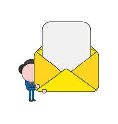 Businessman character holding open mail envelope vector