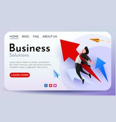 Businessman rising on a growing arrow business vector