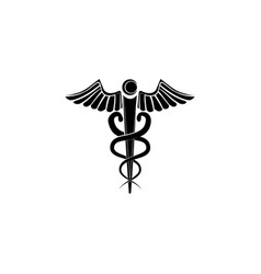 caduceus icon black on white background vector image