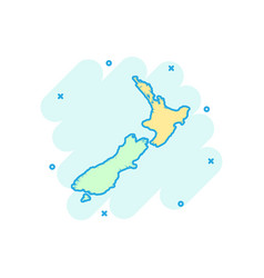 cartoon new zealand map icon in comic style new vector image