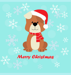 Christmas card with cartoon dog vector