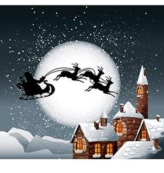 christmas santa and his reindeer vector image