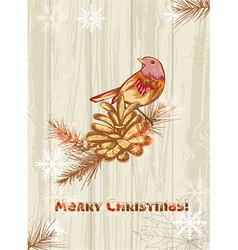 Christmas with pine cone and bird vector