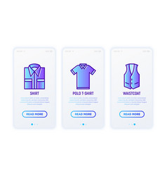 clothing thin line icons set folded shirt polo vector image