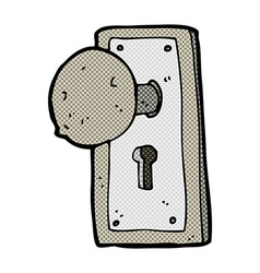 Comic cartoon old door knob vector