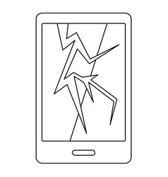 Cracked phone icon outline style vector