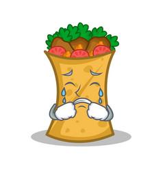 Crying kebab wrap character cartoon vector
