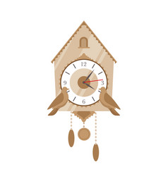 Cuckoo clock flat vintage vector