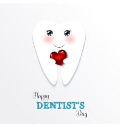 Cute greeting card Happy Dentist Day vector image