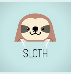 cute sloth head design on blue background vector image