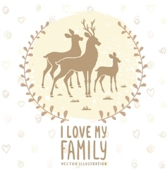 deer family card vector image
