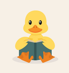 duck reading a book vector image