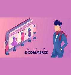 E-commerce shop website banner isometric template vector
