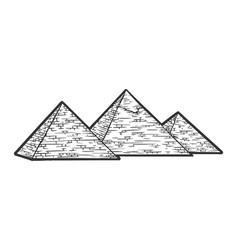 Egyptian pyramids sketch engraving vector