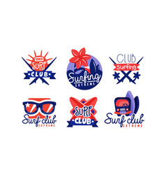 extreme surfing retro logo design collection surf vector image