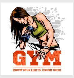 Fitness club and gym label athletic woman with vector