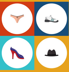flat icon clothes set of lingerie heeled shoe vector image