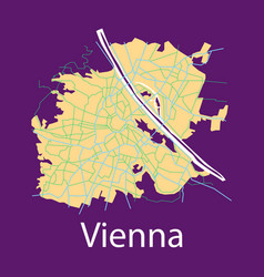 Flat map of the city of vienna austria vector