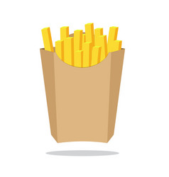 french fries in paper box isolated fast food in vector image