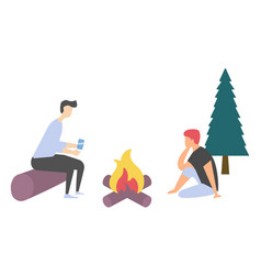 friends near bonfire leisure and picnic vector image
