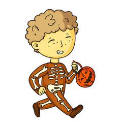 funny skeleton boy child halloween costume on vector image